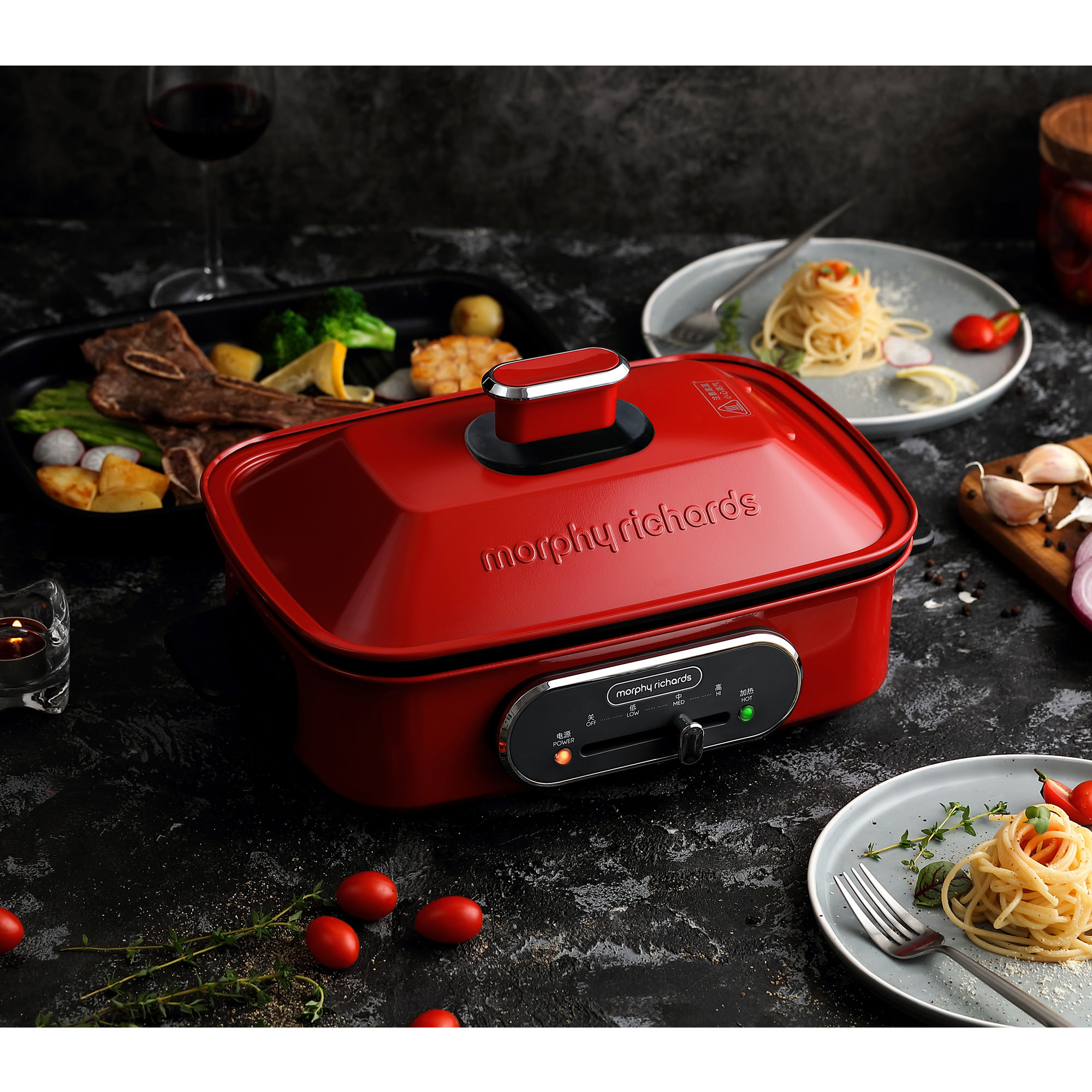 Morphy Richards Multi Function Cooking Pot Red image #2