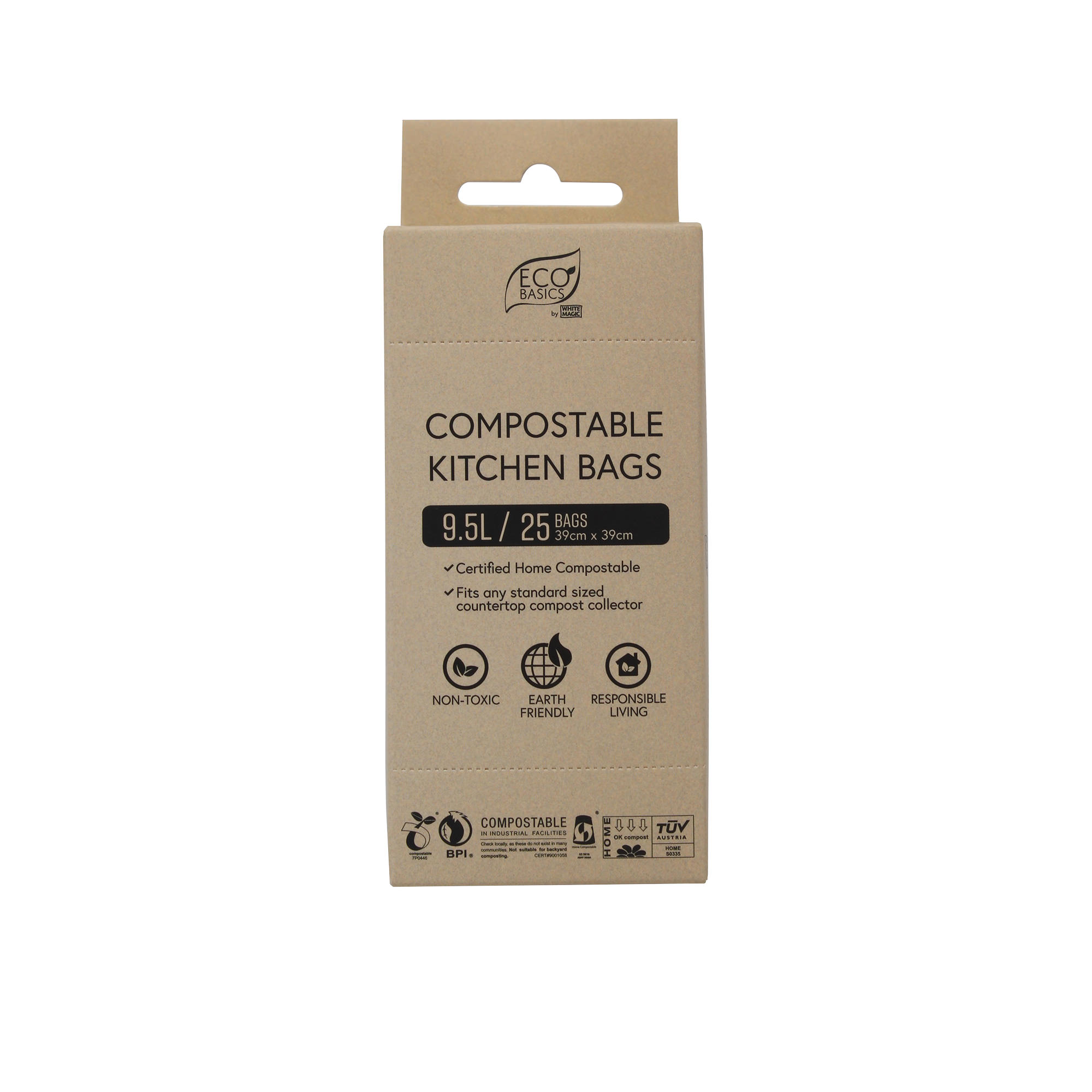 White Magic Eco Basics 25pk Compostable Kitchen Bags 9L