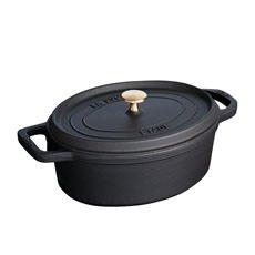 Enamelled Cast Iron Oval Cocotte 31cm Black