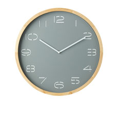 Leni Wall Clock Pine Wood & Grey