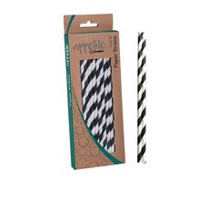 Paper Straws 50pk Black Stripes