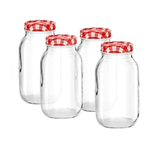 <b>Avanti</b> 4pc Mason Jar Set w/ Preserving Lid 1L