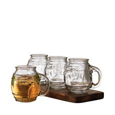 Small Barrel Clear Glass Mug 500ml Set of 4