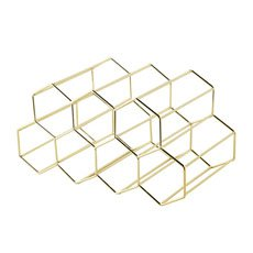 Hexagonal Wine Rack 9 Bottle Gold