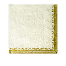 Casa Regalo 3ply Embossed <b>Napkin</b> 20pk White and Gold