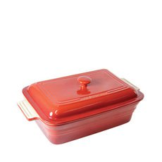 La Cuisson Rectangular Dish w/ Lid Inferno Red