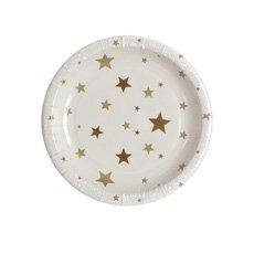Christmas Time Paper Plates Gold Star 18x18cm8pk
