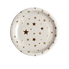 Christmas Time Paper Plates Gold Star 23x23cm8pk