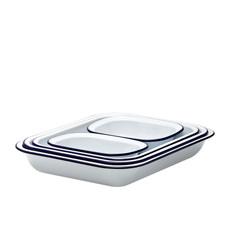 Enamel Baking Set 5pc /Blue Rim