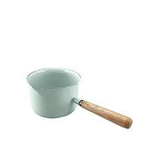 Falcon Enamel Milk <b>Pan</b> w/ Wood Handle 400ml Duck <b>Egg</b> Blue