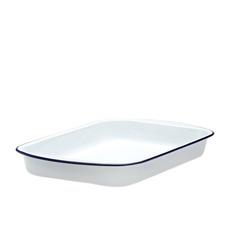 Enamel Lasagna Pan 46cm White/Blue Rim