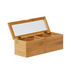 Eco Tea Box 4 Compartment 26.5x9x9cm Natural