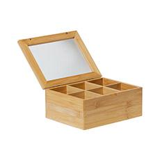 Eco Tea Box 6 Compartment 21x16x7.5cm Natural