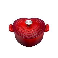 <b>Le Creuset</b> Cast Iron Heart Shaped Casserole 20cm - 1.9L Cerise