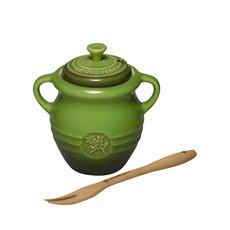 <b>Le Creuset</b> Stoneware Olive Jar & Fork Sage Green