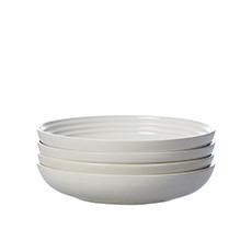 Le Creuset Stoneware Pasta <b>Bowl</b> 22cm Set of 4 White