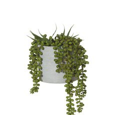 Artificial String of Pearls w/ Grey Pot 15x15x27cm