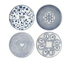 Ellen Degeneres Blue Love Accents Dinner Plate Set