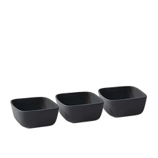 Salt & Pepper Major 3pc Square Bowl 10cm Black