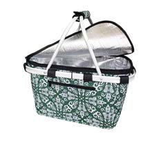 Insulated Carry Basket with Lid Bohemian Green