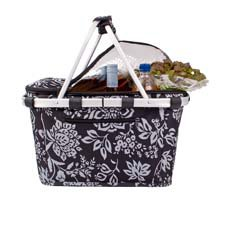 Insulated Carry Basket with Lid Camelia Black
