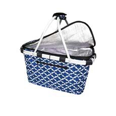 Insulated Carry Basket with Lid Moroccan Navy