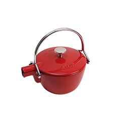 Enamelled Cast Iron Round Teapot/Kettle 1.15L Cherry Red