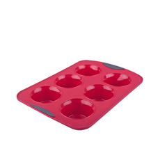 Silicone Jumbo Muffin Pan 6 Cup Red