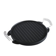 Victoria Seasoned Cast Iron Round Grill <b>Pan</b> with Removable Handles 31.5cm