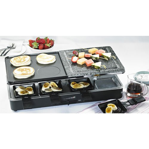 Davis & Waddell 8 Person Electric Party Grill and Raclette Black
