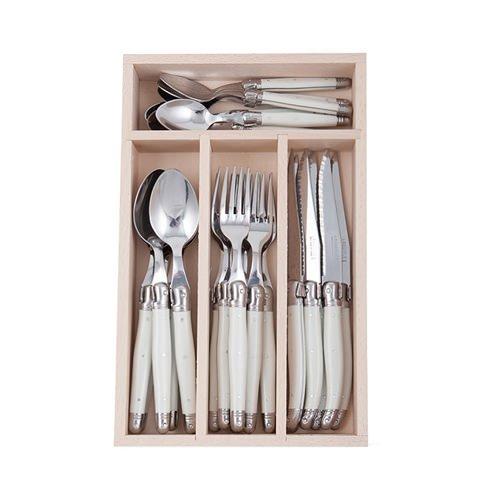 Andre Verdier Laguiole Debutant Cutlery Set Mirror 24pc White
