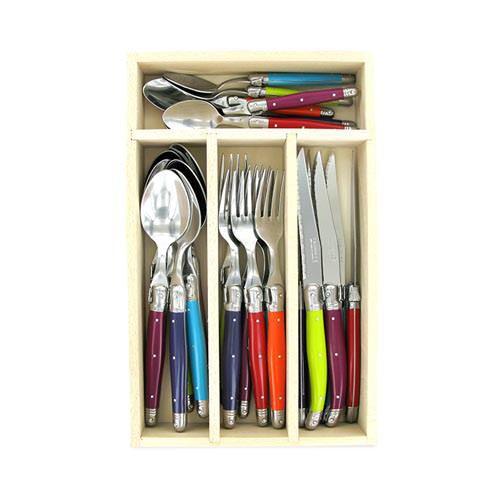 Andre Verdier Laguiole Debutant Cutlery Set Mirror 24pc Wildflower
