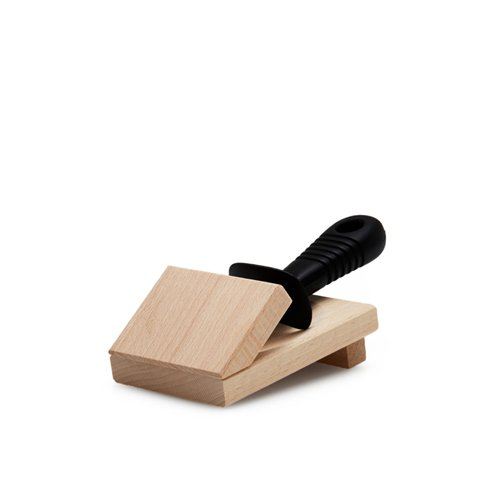 Laguiole by Andre Verdier Oyster Knife with Wooden Block Black