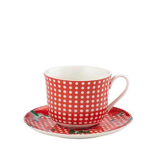 New Anna Gare Vintage Rose Oversized Tea Cup Saucer Red Ebay