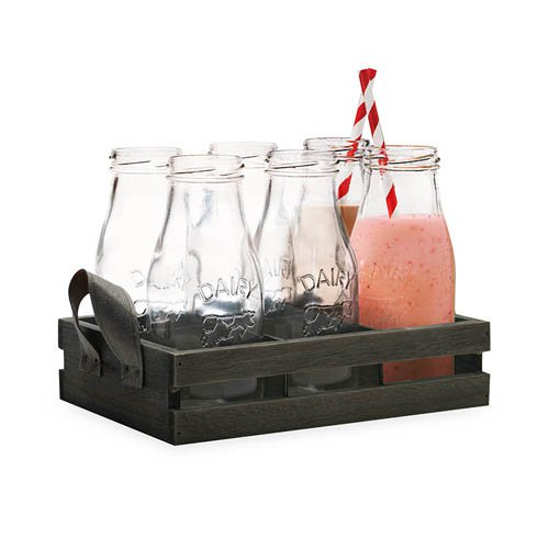 Avanti 6pc Glass Milk Bottle Set w/ Wooden Tray