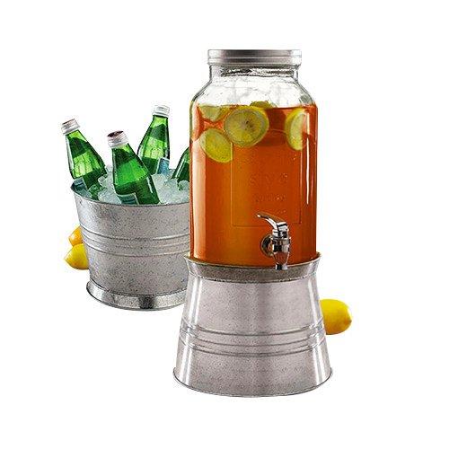 Avanti Glass Beverage Dispenser w/ Galvanised Metal Stand