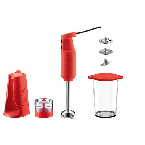 Bodum Blender Stick 3pc Set with Accessories Red