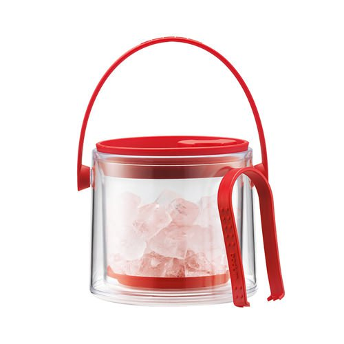 Bodum Cool Double Wall Ice Bucket with Tongs 1.5L Red