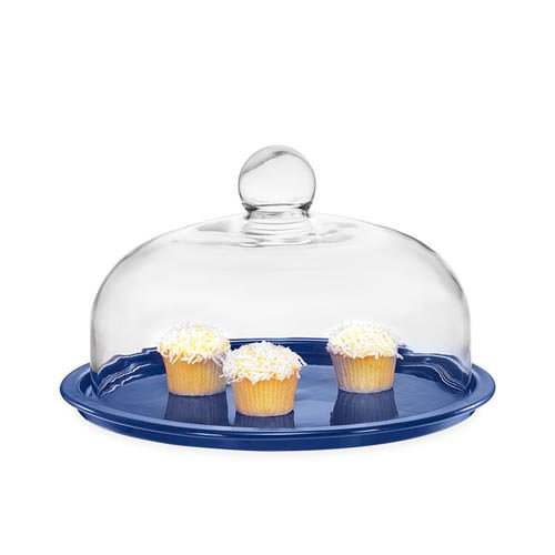 Chasseur Cake Platter with Lid 26cm Sky Blue