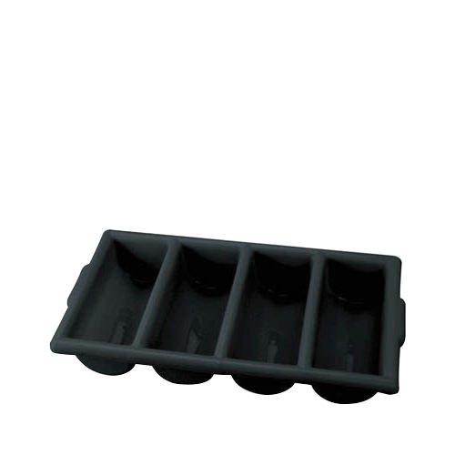 Chef Inox 4 Compartment Cutlery Box Black