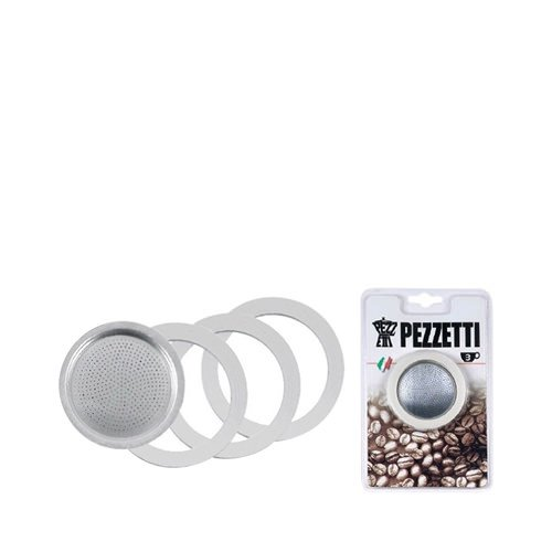 Pezzetti Blister 3 Cup, 3 Gaskets and 1 Filter