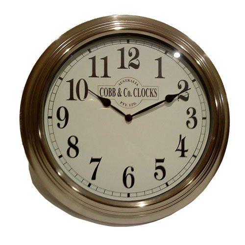 cobb co stainless steel wall clock 38cm on sale now. Black Bedroom Furniture Sets. Home Design Ideas