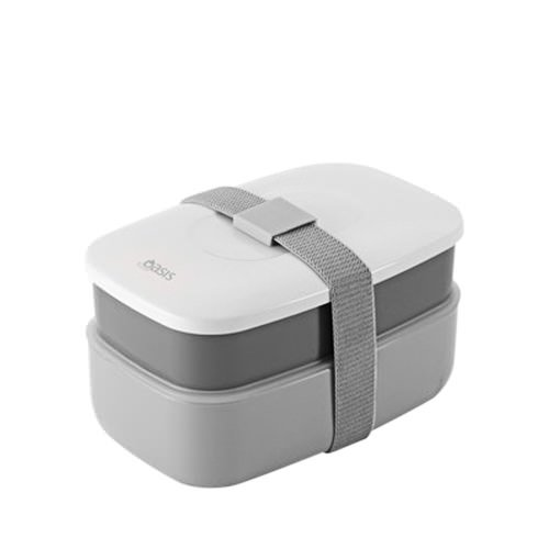 d line oasis bento stackable lunch box grey fast shipping. Black Bedroom Furniture Sets. Home Design Ideas