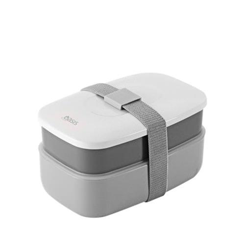 new d line oasis bento stackable lunch box grey ebay. Black Bedroom Furniture Sets. Home Design Ideas