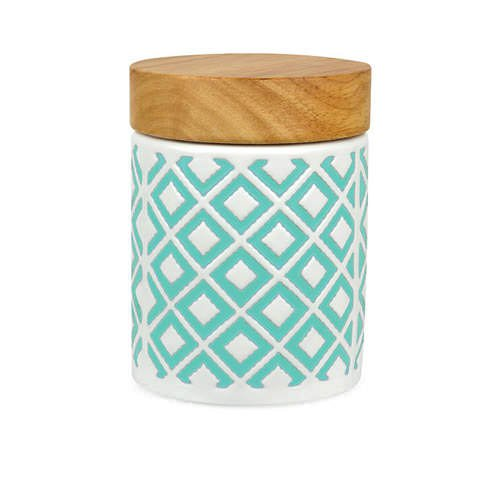 Leaf & Bean Embossed Canister 400ml Mint