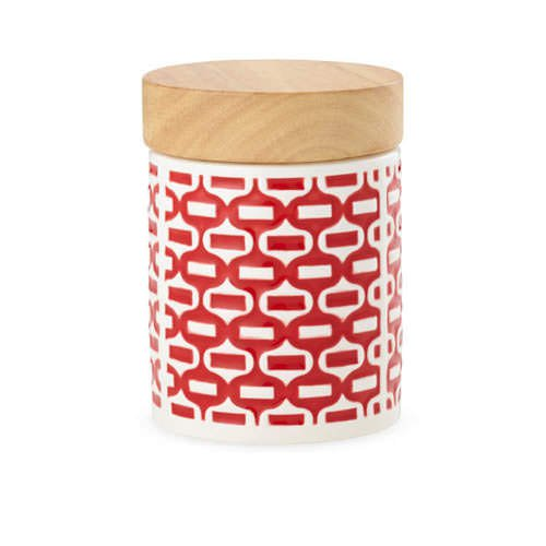 Leaf & Bean Embossed Canister 400ml Red