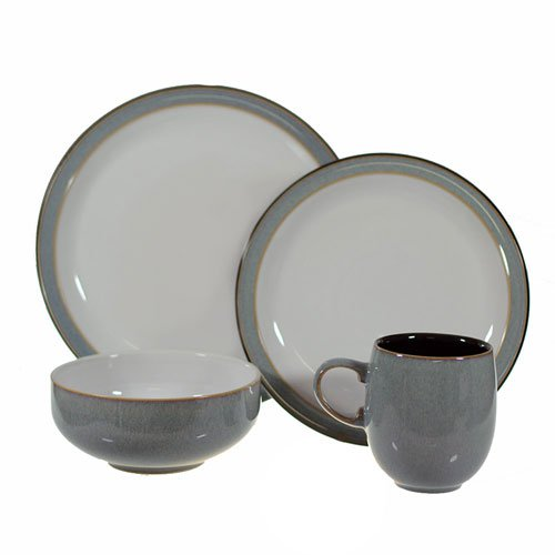 new denby jet grey dinner set 16pc rrp 799 ebay. Black Bedroom Furniture Sets. Home Design Ideas