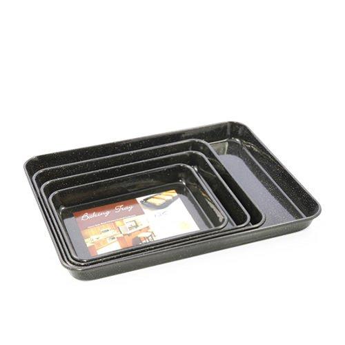 falcon enamel rectangle baking tray 31x27x3cm black fast. Black Bedroom Furniture Sets. Home Design Ideas