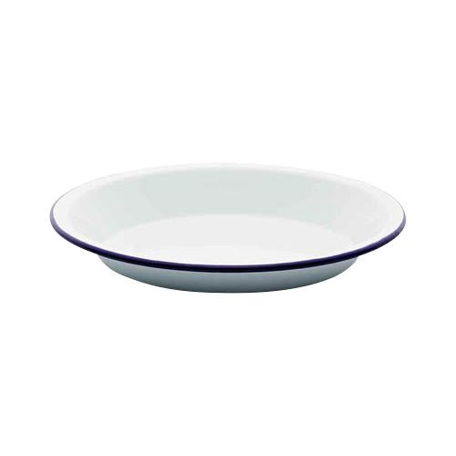 Falcon Enamel Round Pie Plate 25cm White/Blue Rim