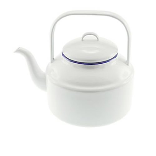 Falcon Enamel Tea Kettle 2L White/Blue Rim
